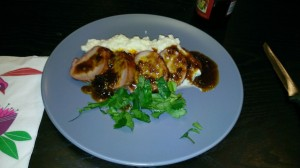 Pork tenderloin with pureed cauliflower